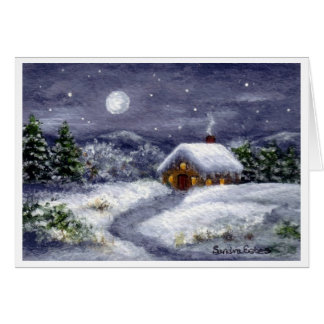 Snow Moon Winter Cottage Landscape Art Note Card