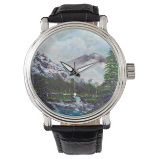Snow mountains wrist watch