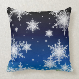 Snow night throw pillow