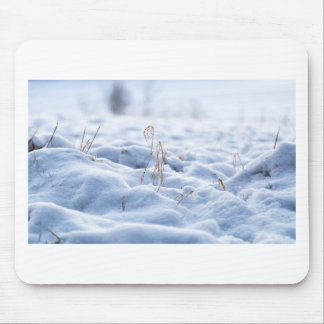 Snow on a meadow in winter macro mouse pad