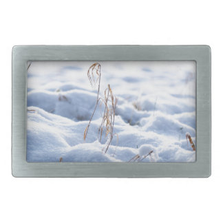 Snow on a meadow in winter macro rectangular belt buckles