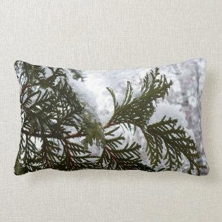 Snow on Evergreen Branches Winter Nature Photo Lumbar Pillow