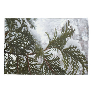 Snow on Evergreen Branches Winter Nature Photo Pillowcase