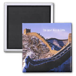 Snow on Great Wall of China Square Magnet