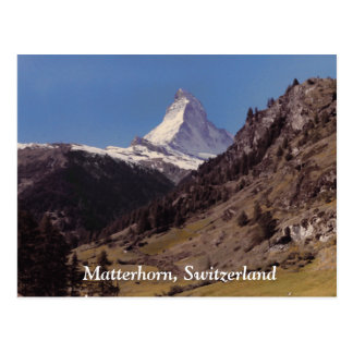 Snow on Matterhorn Blue Sky Alpine Forest Postcard