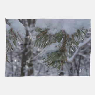Snow on pine tree kitchen towel