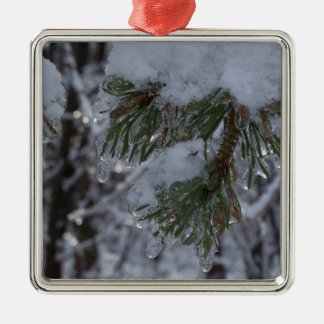 Snow on pine tree Silver-Colored square ornament