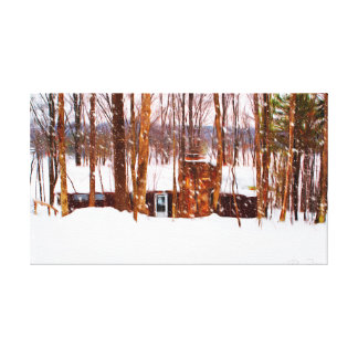 Snow on The lodge Canvas Print