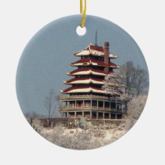 Snow on the Pagoda Round Ceramic Ornament
