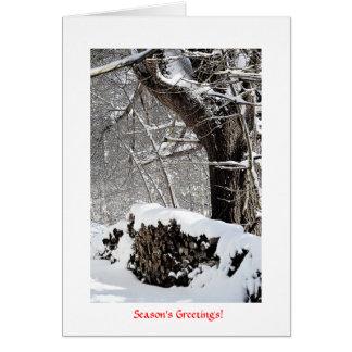 Snow on the Wood pile Card