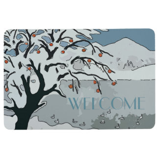 Snow on trees Japanese Style Floor Mat
