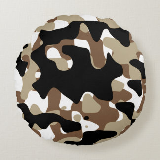 Snow open terrain  Camouflage Round Pillow