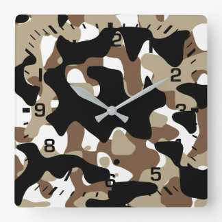 Snow open terrain  Camouflage Square Wall Clock