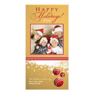 Snow Ornaments Family Holiday Photocard (gold) Picture Card