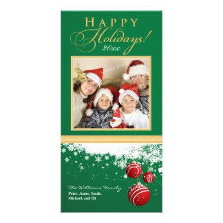 Snow Ornaments Family Holiday Photocard (green) Photo Card Template