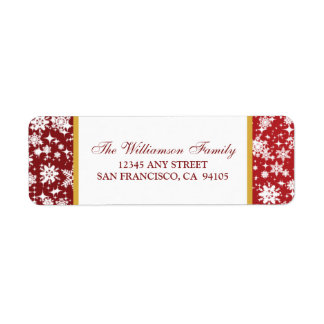 Snow Ornaments Holiday Address Labels red