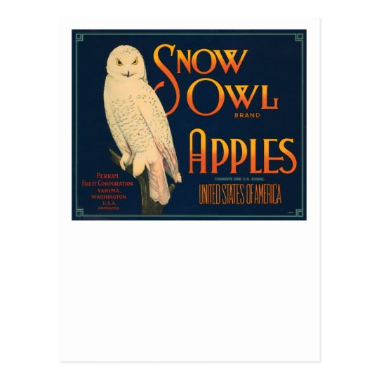 Snow Owl Brand Apples Postcard