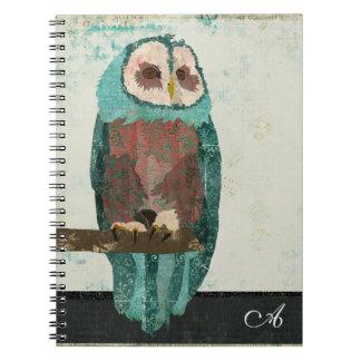 Snow Owl Monogram Notebook