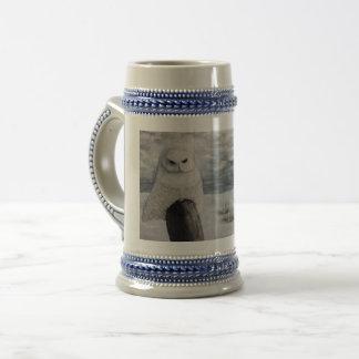 Snow Owl On Praire Beer Stein