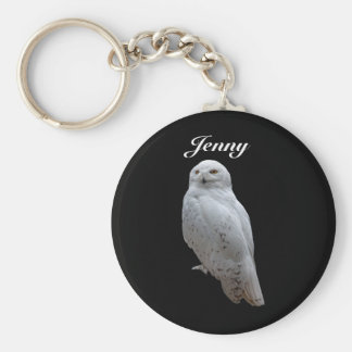 Snow Owl Personalized Keychain