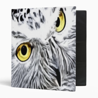 Snow Owl yellow eyes 3 Ring Binder