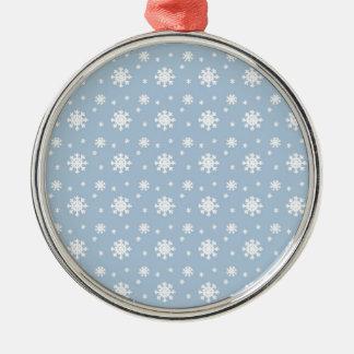 Snow Pattern Silver-Colored Round Ornament