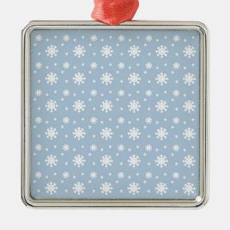 Snow Pattern Silver-Colored Square Ornament