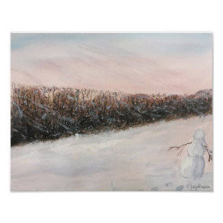 SNOW PERSON  . WATERCOLOR POSTER