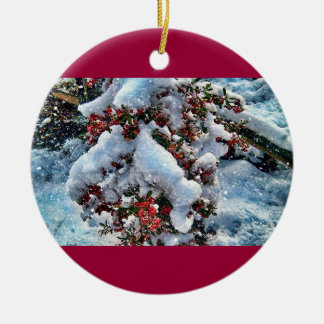 Snow  pictures on an orniment ceramic ornament