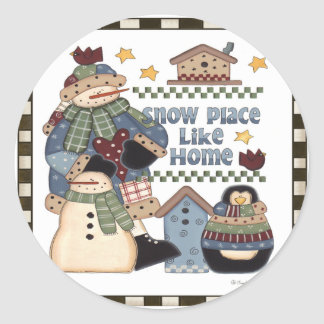 Snow Place Like Home Round Sticker
