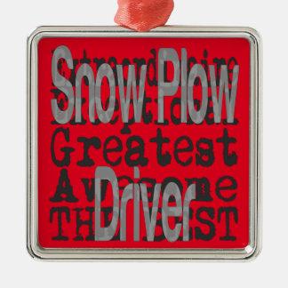 Snow Plow Driver Extraordinaire Silver-Colored Square Ornament