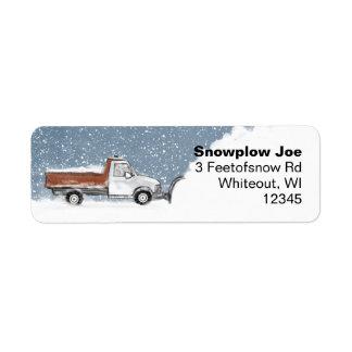 Snow Plow Return Address Labels