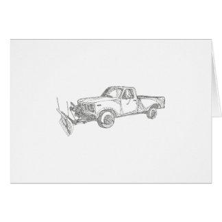 Snow Plow Truck Doodle Art Card