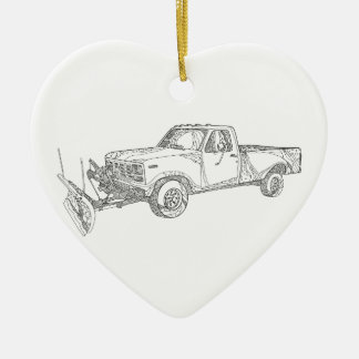 Snow Plow Truck Doodle Art Ceramic Ornament