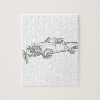 Snow Plow Truck Doodle Art Jigsaw Puzzle