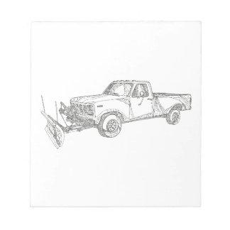 Snow Plow Truck Doodle Art Notepad