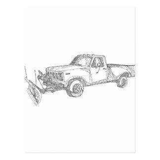 Snow Plow Truck Doodle Art Postcard