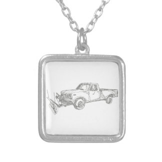 Snow Plow Truck Doodle Art Silver Plated Necklace