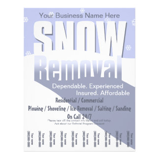 Snow Plowing Service. Removal Business. Full Color Flyer