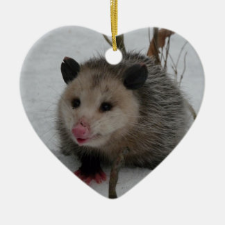 Snow Possum Ceramic Heart Ornament