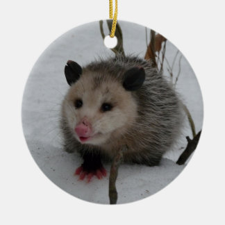 Snow Possum Round Ceramic Ornament