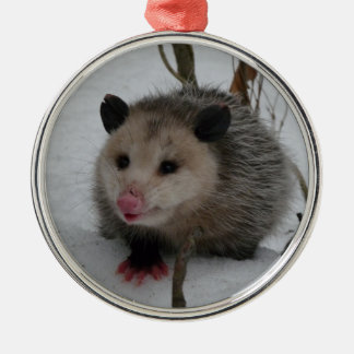 Snow Possum Silver-Colored Round Ornament
