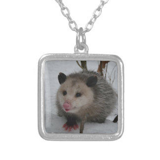Snow Possum Silver Plated Necklace