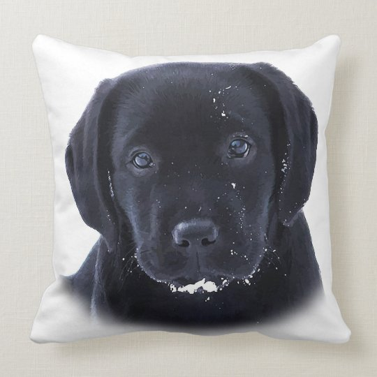 Snow Puppy - Black Labrador Throw Pillow