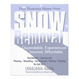 Snow Removal Plowing Customizable Template 4x5 Custom Flyer