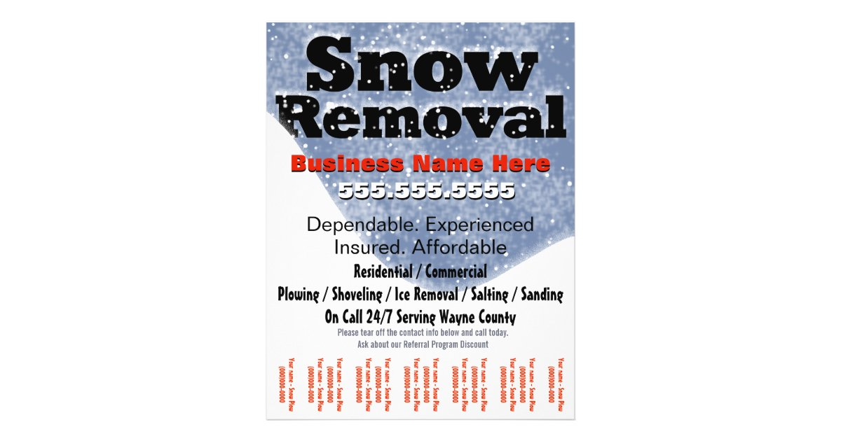 snow removal plowing tear sheet template flyer design zazzle. Black Bedroom Furniture Sets. Home Design Ideas