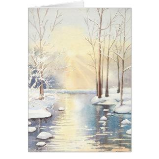 Snow scene Christmas card
