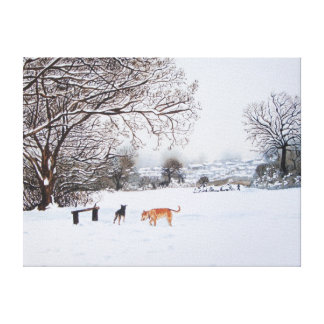 snow scene landscape with trees & rooftops art canvas print