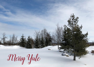 Snow scene - Merry Yule Holiday Card