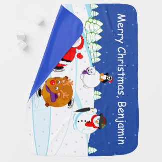 Snow scene of Santa Claus and Rudolph ice skating, Baby Blanket